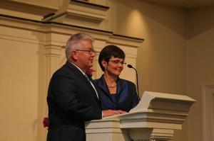 Stuart and Shirley speak at wedding